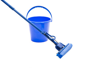Mop, plastic bucket, isolated on white