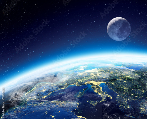 Fototapety, obrazy : Earth and moon view from space at night -  Europe