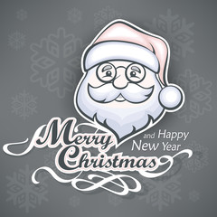 Santa Claus cheerful face on grey and text, vector illustration