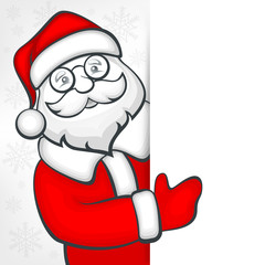 Santa Claus behind white blank sign, vector illustration