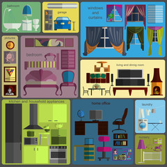 House remodeling infographic. Set flat interior elements for cre