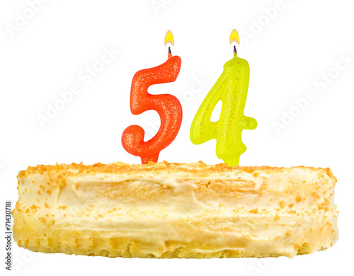 Poster birthday cake with candles number fifty four isolated on white