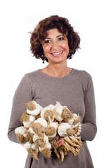 Donna con aglio