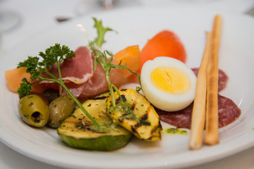 Antipasti Plate with Boiled Egg