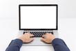 Businessman hands typing laptop computer - 71431528