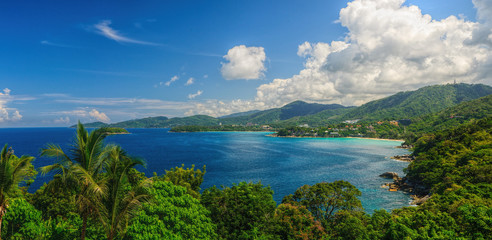Bird-eye panorama of Phuket coastline on sunny day