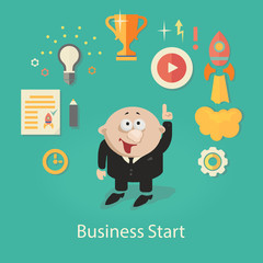 Business Startup  Illustration.  infographics with businessman,