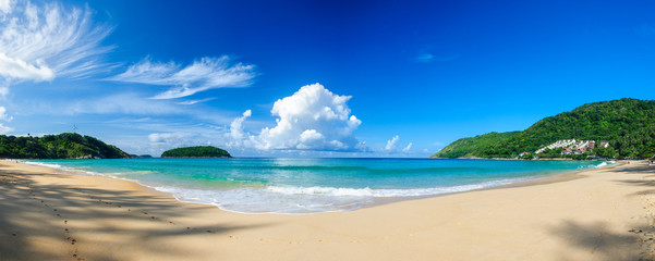 Panoramic view of Nai Harn Beach in Phuket, on a sunny day