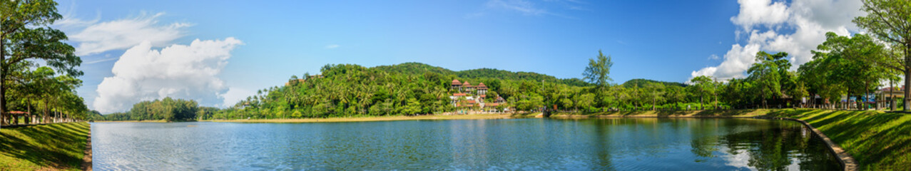 Panoramic view of a lake in Phuket on a sunny day