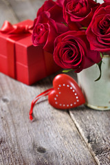 valentine decoration with a red heart, red roses