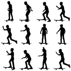 Set of skateboarders silhouette. Vector illustration.