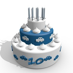 Tien jaar - verjaardag taart met slagroom en kaarsjes