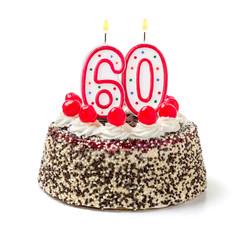 Geburtstagstorte mit brennender Kerze Nummer 60
