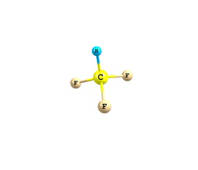Fluoroform molecule isolated on white