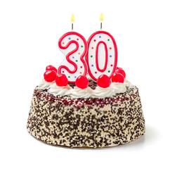 Geburtstagstorte mit brennender Kerze Nummer 30