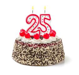 Geburtstagstorte mit brennender Kerze Nummer 25