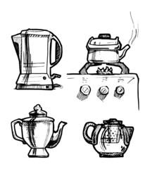 Tea set. Illustration.