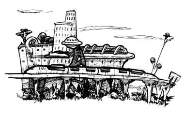 Cityscape. sci-fi.
