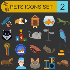 Domestic pets and vet healthcare flat icons set