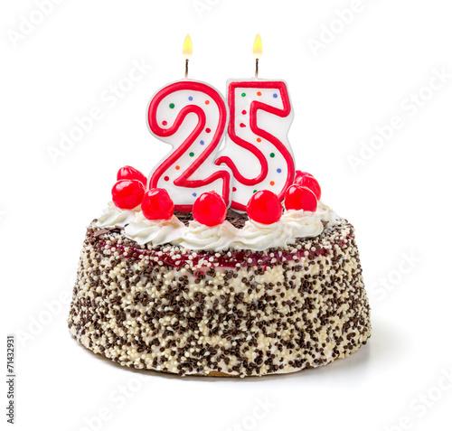 Fototapeta Geburtstagstorte mit brennender Kerze Nummer 25