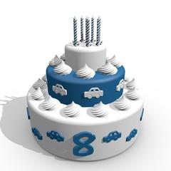 Blauwe slagroomtaart 8e verjaardag