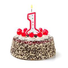Geburtstagstorte mit brennender Kerze Nummer 1