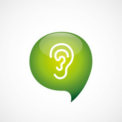 ear icon green think bubble symbol logo.