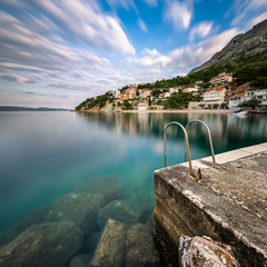 Stone Jetty in Small Village near Omis at Dawn, Dalmatia, Croati