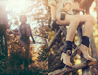 fashion portrait brunette girl in the autumn forest. Country sty