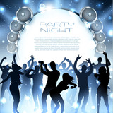 Music background with silhouettes of dancing people and speakers