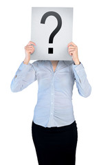 Woman cover face with question board