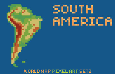 pixel art style map of south america, contains relief continent