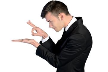 Business man finger flick