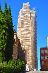 Puertollano, iglesia de la Asunción, andamio, restaurar