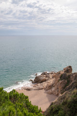 Mediterranean sea coast at Callelle city, Catalonia, Spain.