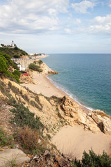 Mediterranean sea coast at Callelle city, Catalonia, Spain.