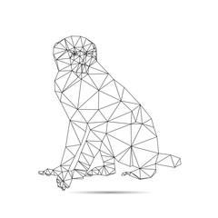 Illustration of origami brown monkey