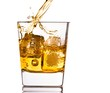 pouring scotch whiskey in glass with ice cubes on white