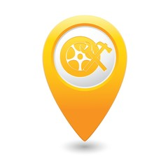 Car service. Car wheel with tool icon on yellow map pointer