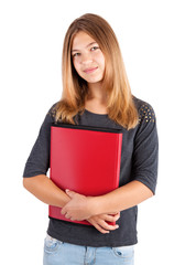 school girl with red folder