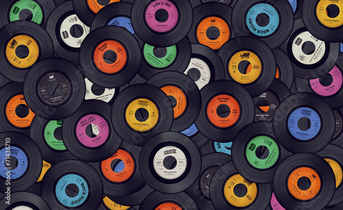 Leinwanddruck Bild Vinyl records music background