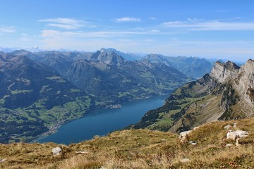 Lake Walensee, view from Chaeserrugg