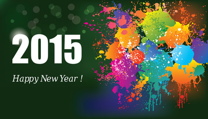 Happy New Year 2015. Colorful background.