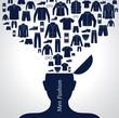 Men's fashion background. Set of Clothing icons.