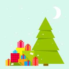 Vector illustration of the Christmas tree and piles of presents