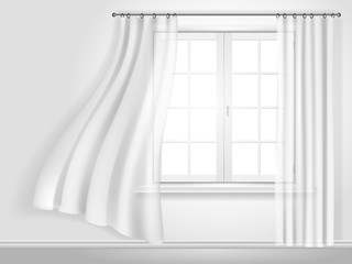 fluttering curtains and window