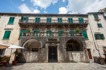 stone palace at sunny day in city of Kotor