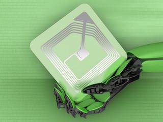 RFID chip with cyborg hand