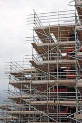 Scaffolding framework on an English construction site