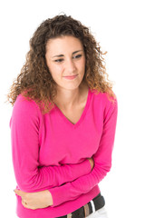 Junge Frau mit Bauchschmerzen